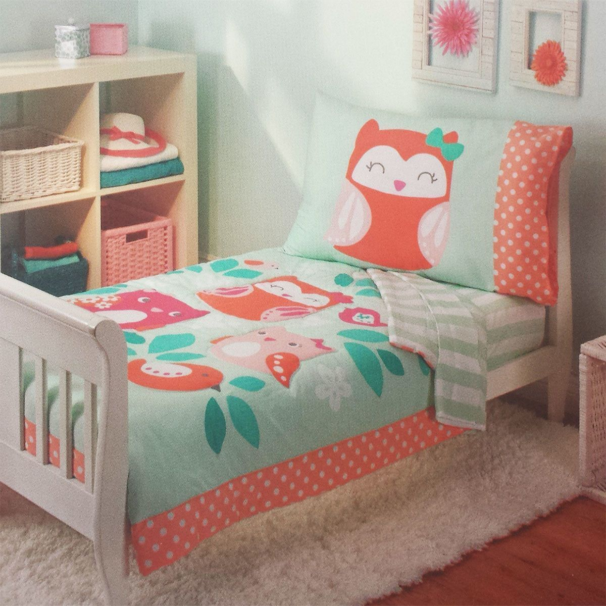Toddler Girl Full Size Bedding Sets.Owls Too Cute To Hoot Bed 4 Piece Toddler Bedding Set