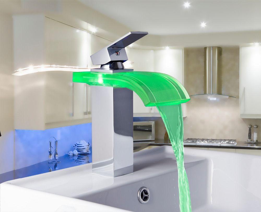 OUBONI Single Handle Bacia Torneira LED 3 Colors Waterfall Bathroom ...