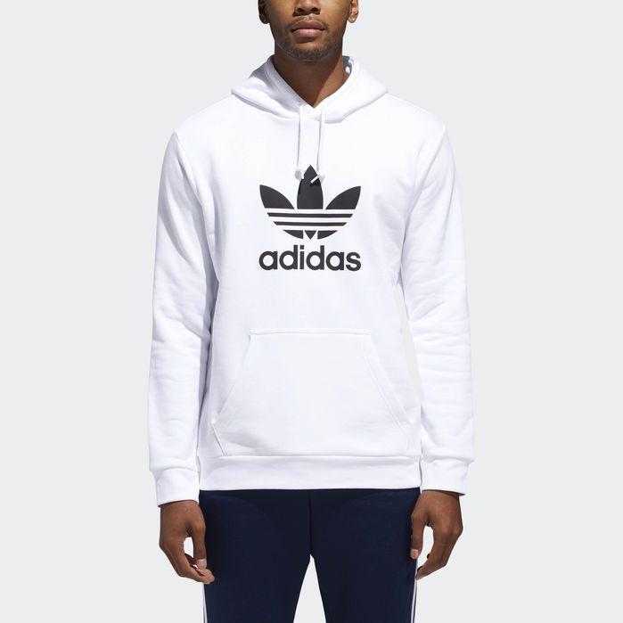 Trefoil Hoodie White Mens | Adidas hoodie mens, White hoodie