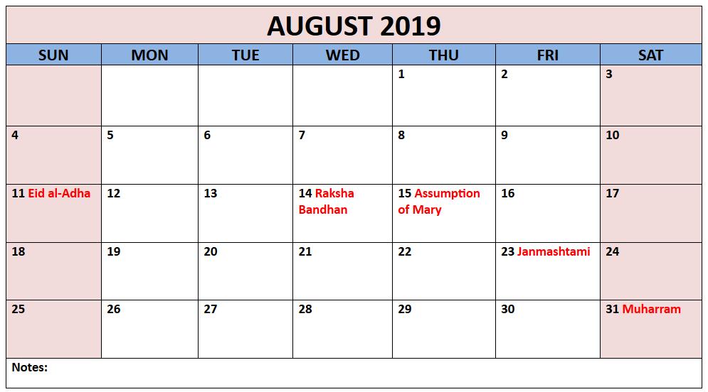 August 2019 Printable Calendar With Holiday Calendar 2019