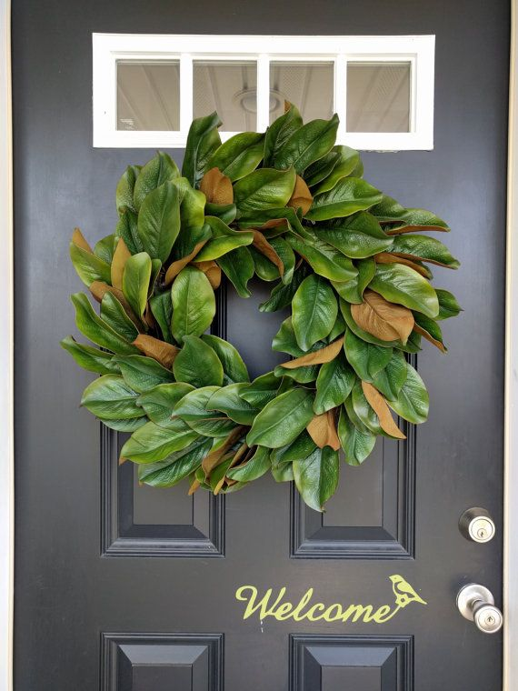 Magnolia Wreath, Rustic Wreath, Front Door Wreath, Fall Wreath, Year Round  Wreath, Summer Wreath, Housewarming, Large Magnolia Leaves