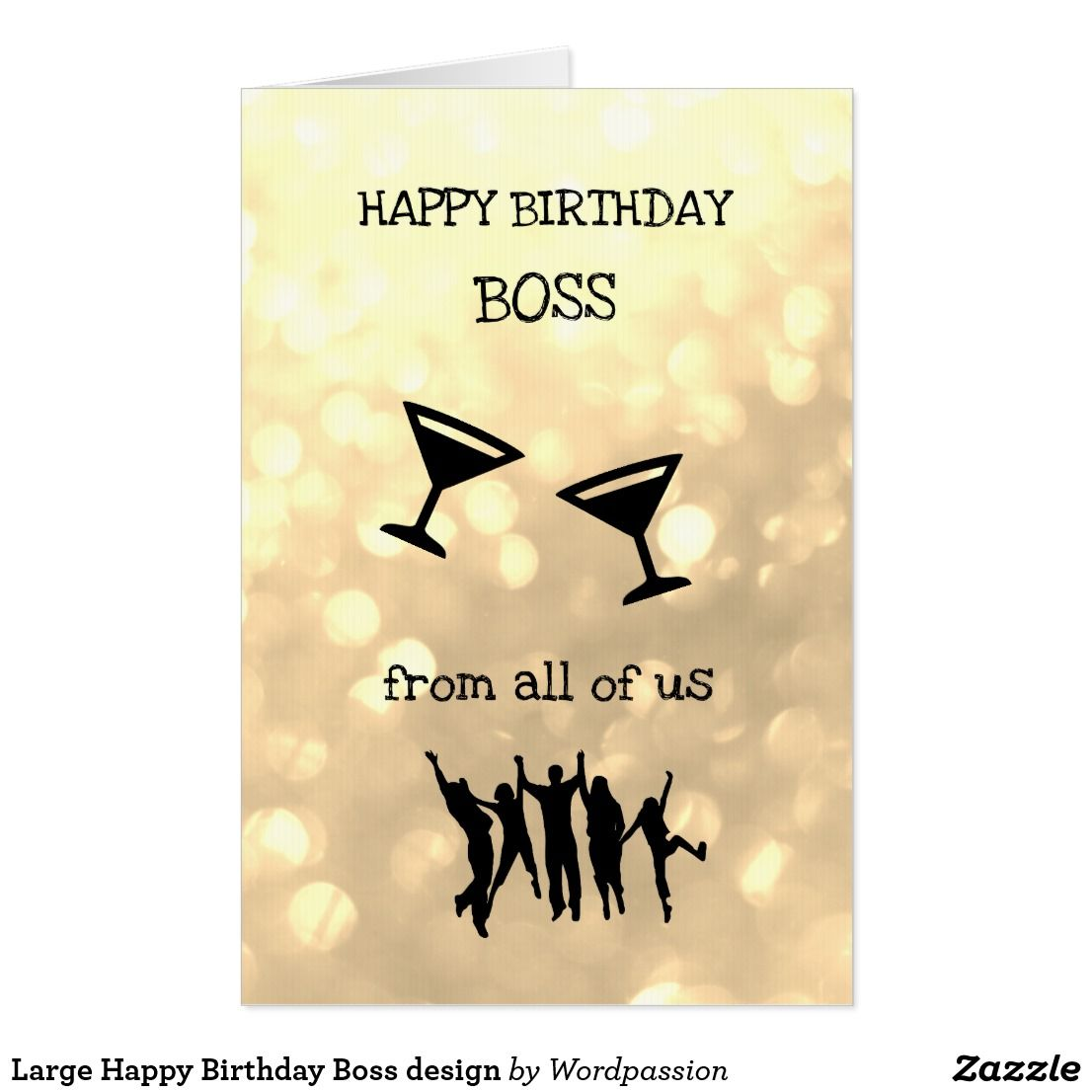 Happy Birthday Wishes To My Boss Quotes: Large Happy Birthday Boss Design Card