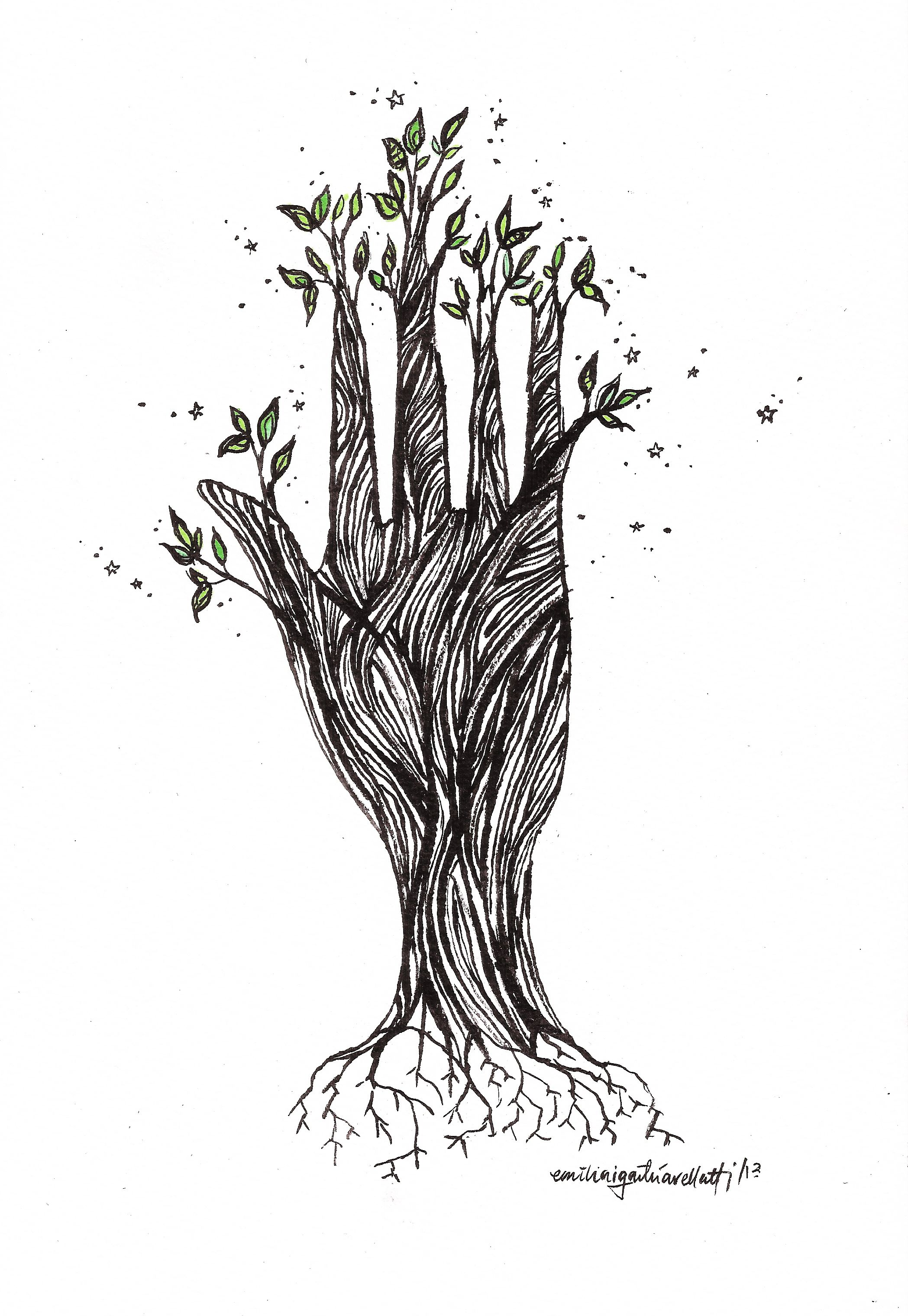 roots of life   nature  plants  life  hand  drawing  illustration  art  wood