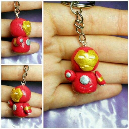 Cute polymer clay iron man keychain