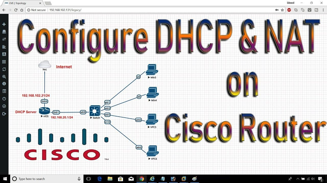 Configure complete DHCP on cisco router: dhcp server on EVE