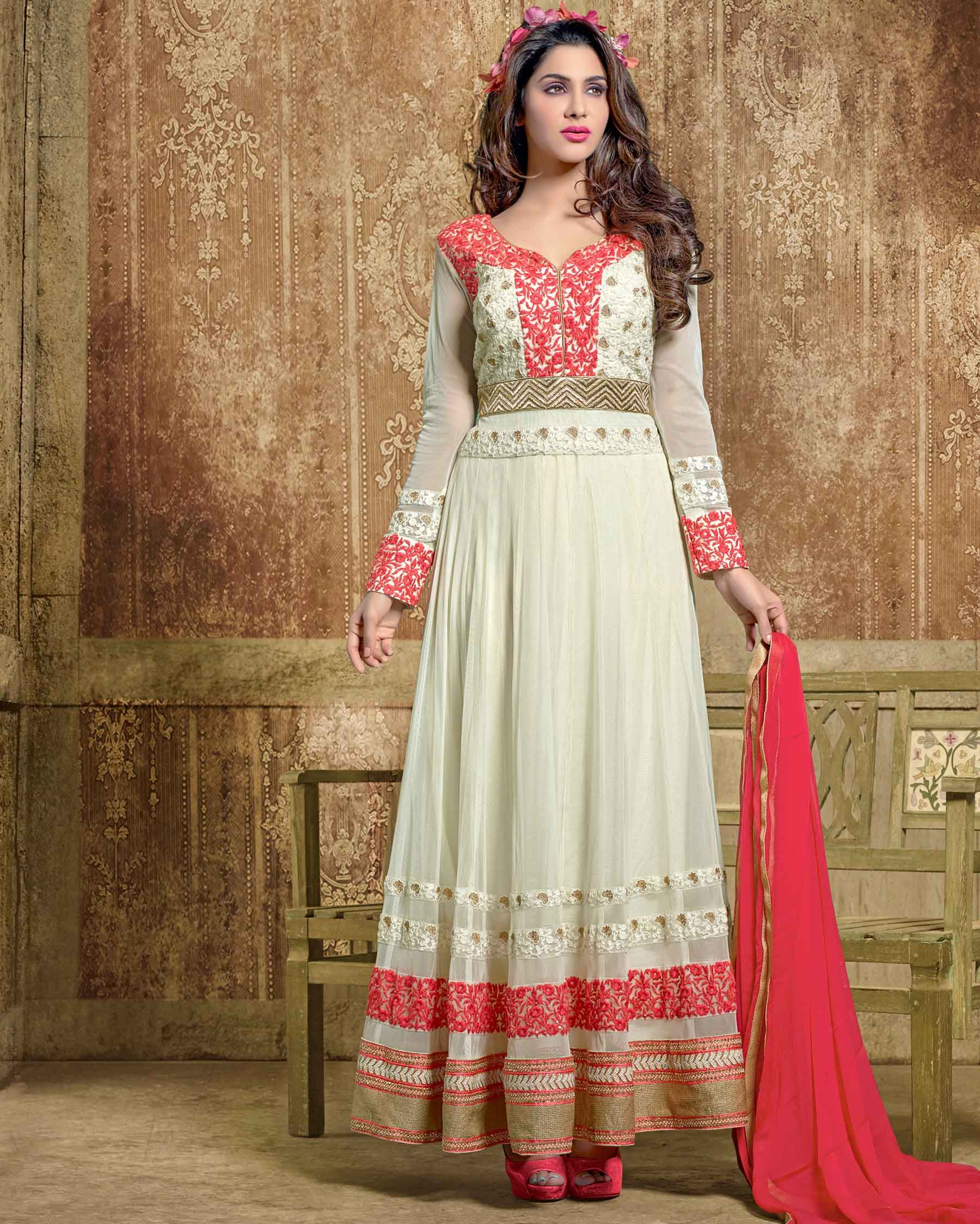 Cream riotous Embroidered Soft Net Salwar Suits for women(Semi Stitched)  Fabric  Soft Net Work  Embroidered Type  Salwar Suits for women(Semi  Stitched) ... 2276bbc3f