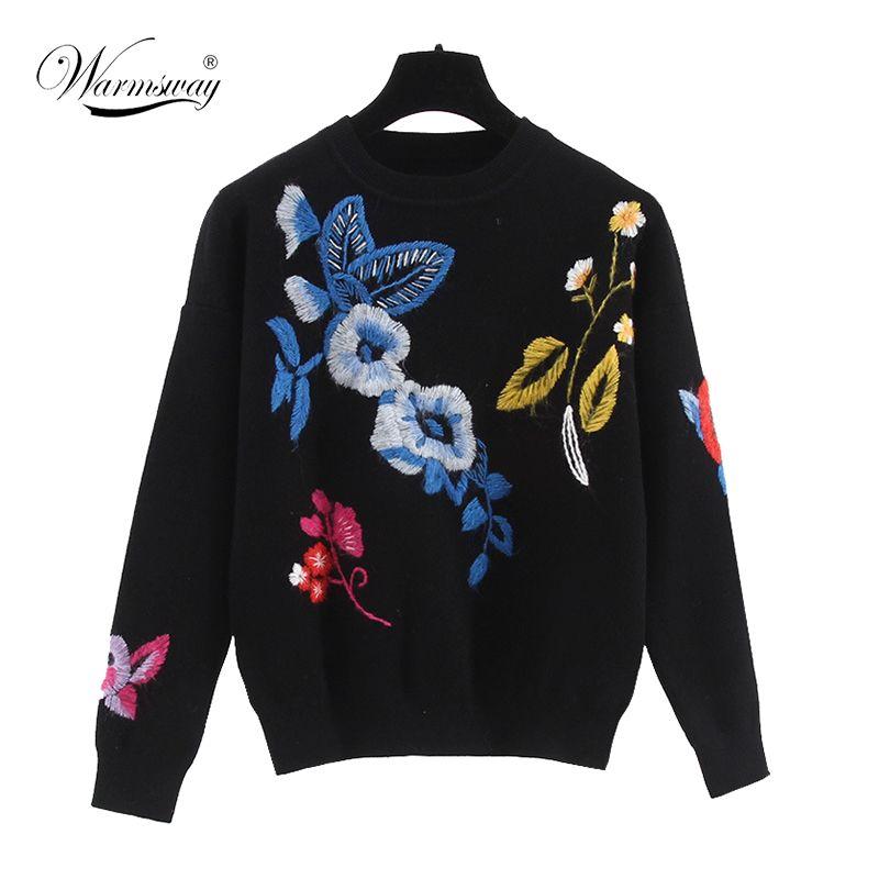 2017 가을/겨울 뜨거운 최고 캐주얼 대형 스웨터 새로운 디자인 꽃 다채로운 패턴 니트 Roud 목 위험 회피 스웨터 WS-134