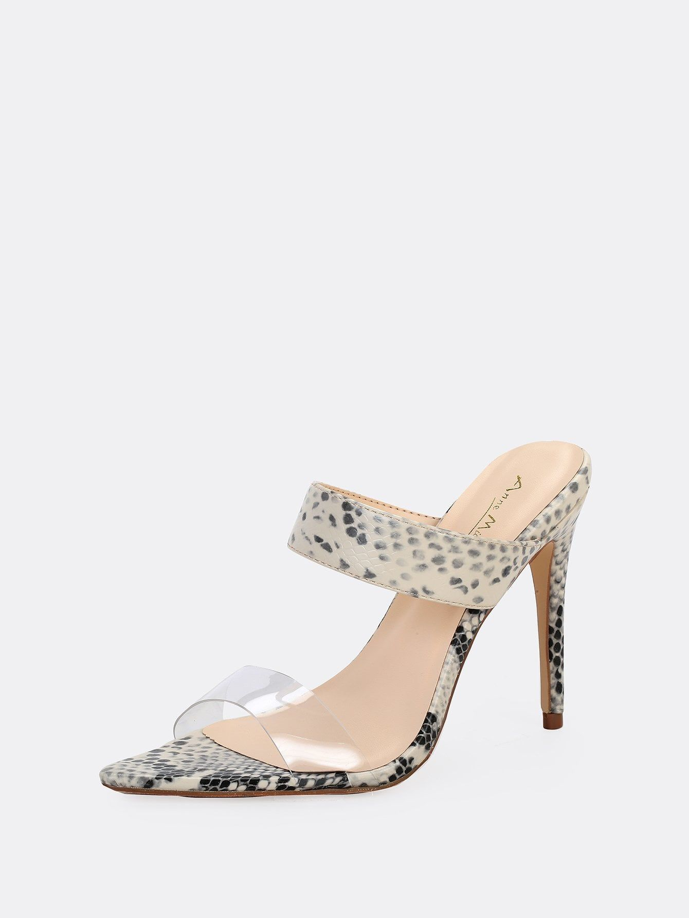 e31bc6cf4cc Party Open Toe Snakeskin Print Black and White High Heel Stiletto Open Pointy  Toe Clear Band Stiletto Mule Heels