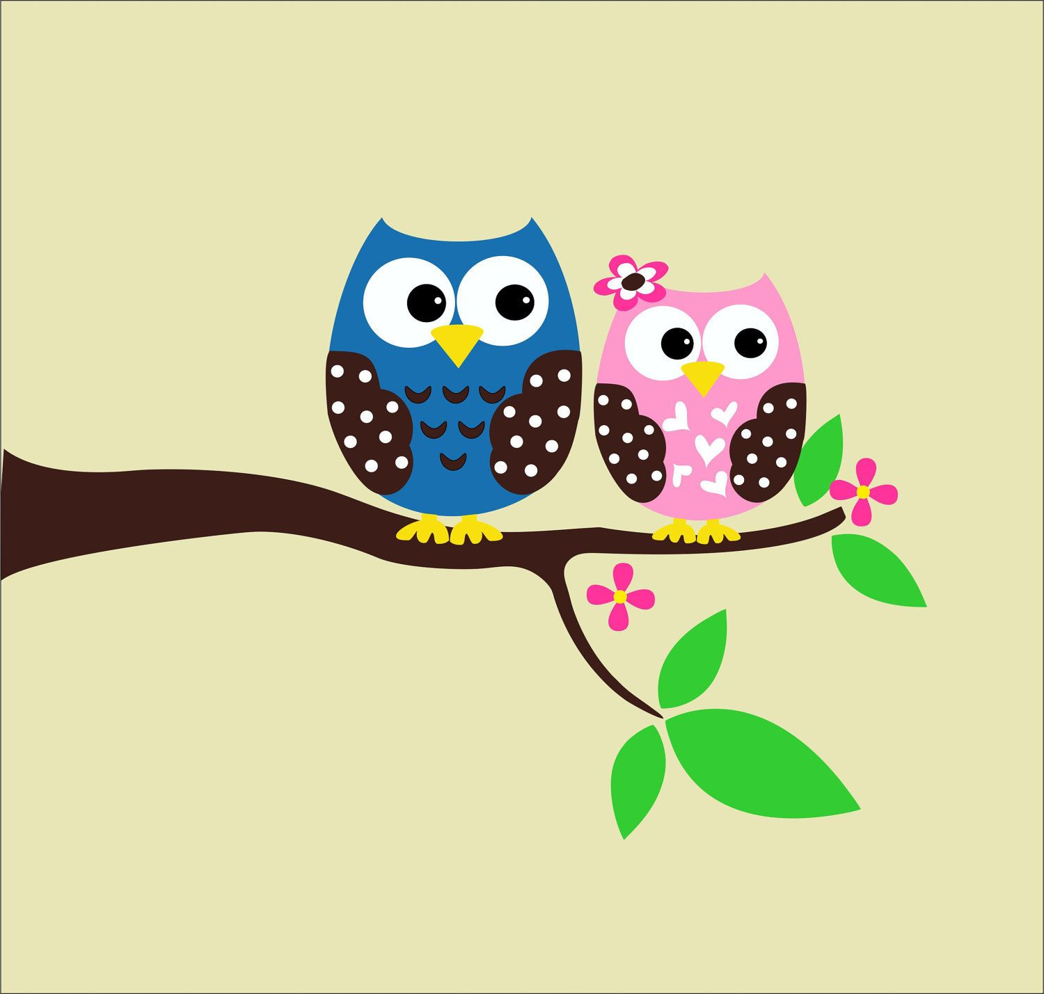 Owl Wall Decals - Childrens Wall Decals - Nursery Vinyl Wall ...