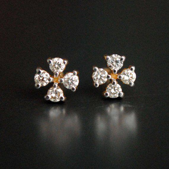 Diamond Bridal Earring Tiny Studs Small 4 Earrings Etsy