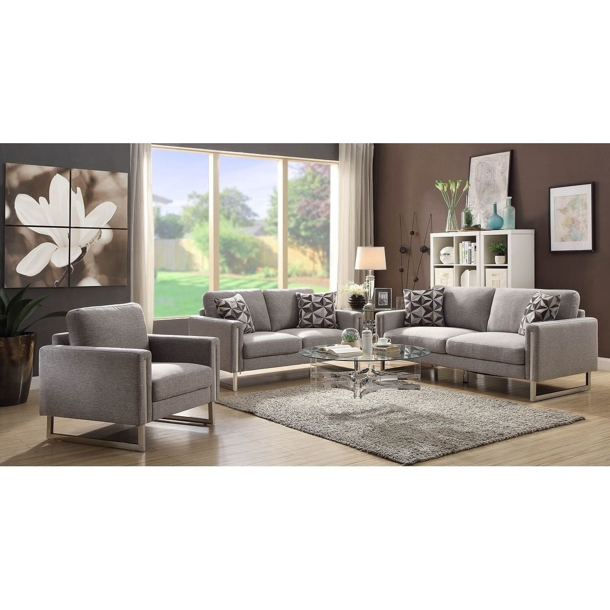 Yardley Contemporary Grey Chair Metal Modern Living Room Set