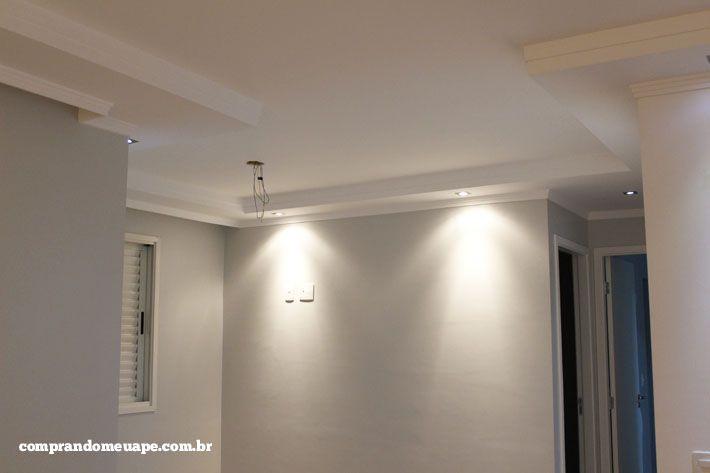 Gesso Na Sala De Tv ~  Spots Super LED e Dicróica  Teto de gesso, Iluminação led e Gesso