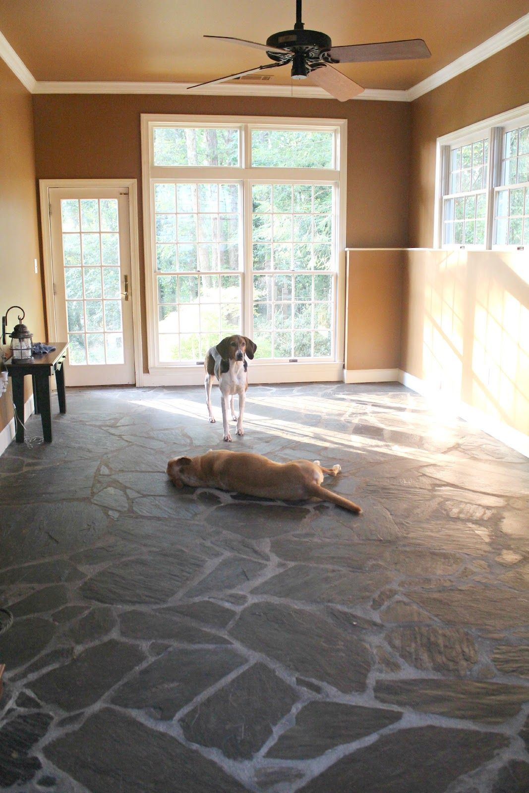 Slate Room Living Room Makeover The Before Photos With Images Living Room Makeover Tile Layout Room #slate #floors #in #living #room
