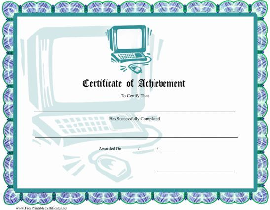 This certificate of achievement has an illustration of a desktop – Computer Certificate Format