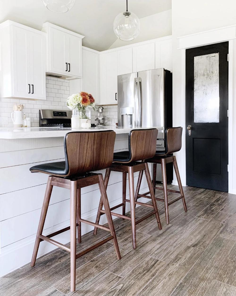 sede black leather walnut swivel counter stool in 2020
