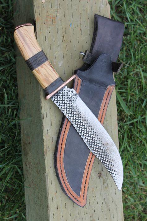 handmade rasp bowie knife with custom leather sheath by AHKnives, $200.00