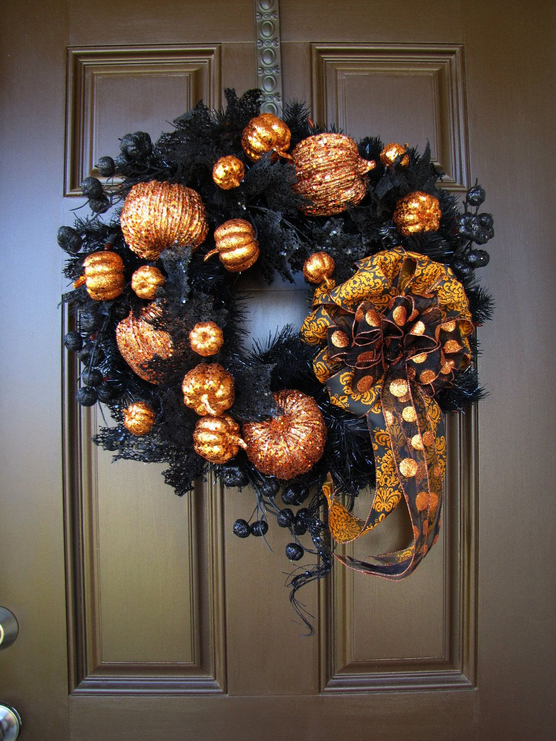 Glamorous Pumpkin Patch Lighted Black Halloween Wreath with Handmade Damask and Polka Dot Bow