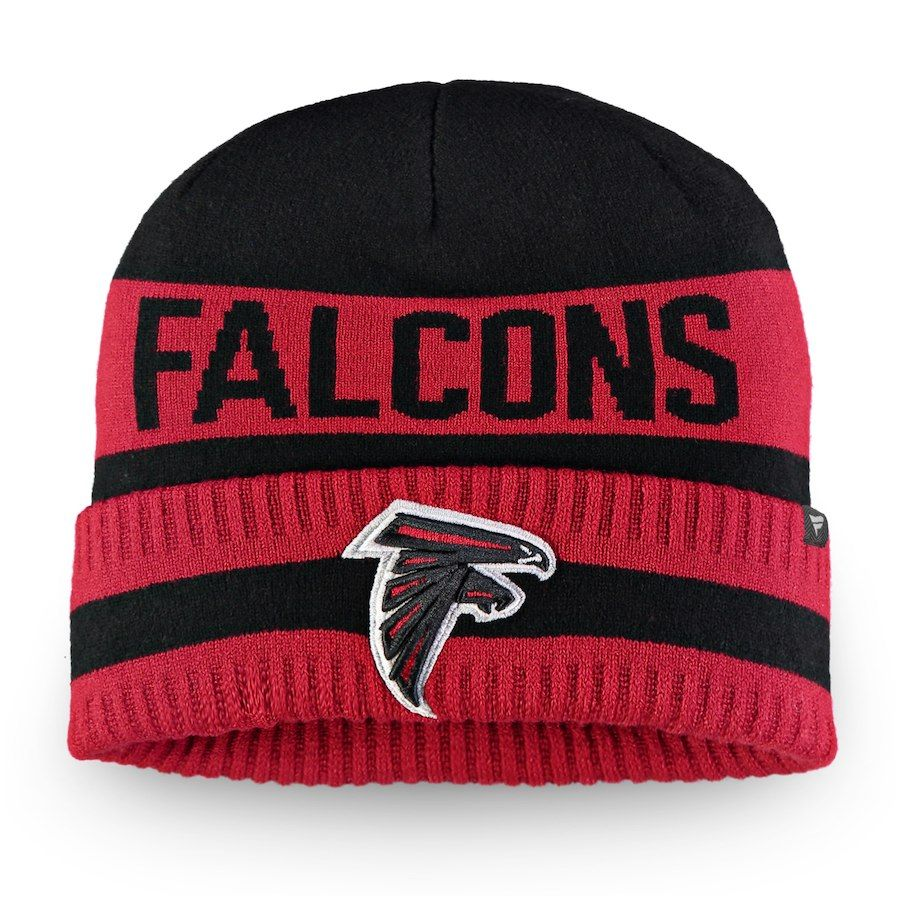 the latest c98a3 9c1cf Men s Atlanta Falcons NFL Pro Line by Fanatics Branded Black Red Iconic  Core Cuffed Knit Hat, Your Price   21.99