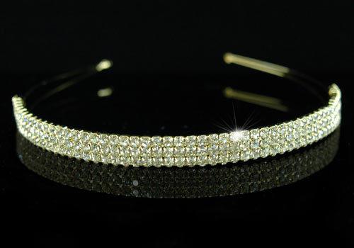 21.00$  Watch now - http://vitqq.justgood.pw/vig/item.php?t=e2o75854950 - Wedding 3 Row Clear Crystal Gold Plate Headband Tiara
