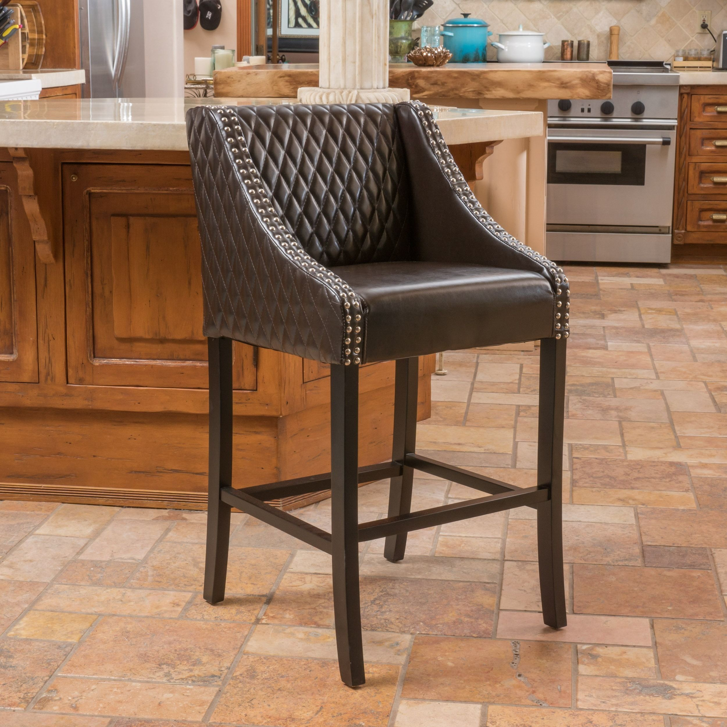 Milano Brown Quilted Bonded Leather Barstool By Christopher Knight Home Bar Stool