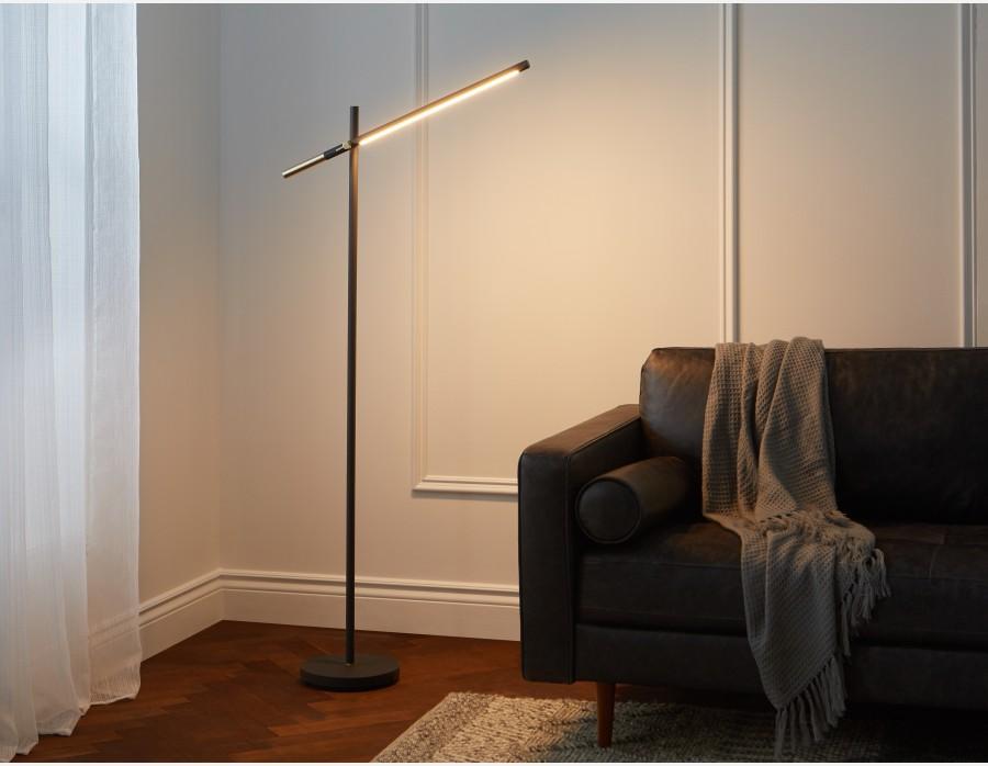 Lampe Sur Pied Del 147cm Haut Noir Lumo Structube In 2020 Led Floor Lamp Floor Lamp Floor Lamp Bedroom