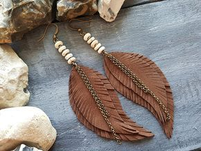 Photo of Brown Leather Feather Earrings Bronze Leather Earrings Boho Dangle Earrings Long Bohemian Earrings Gemstone Leather Earrings Boho Jewelry