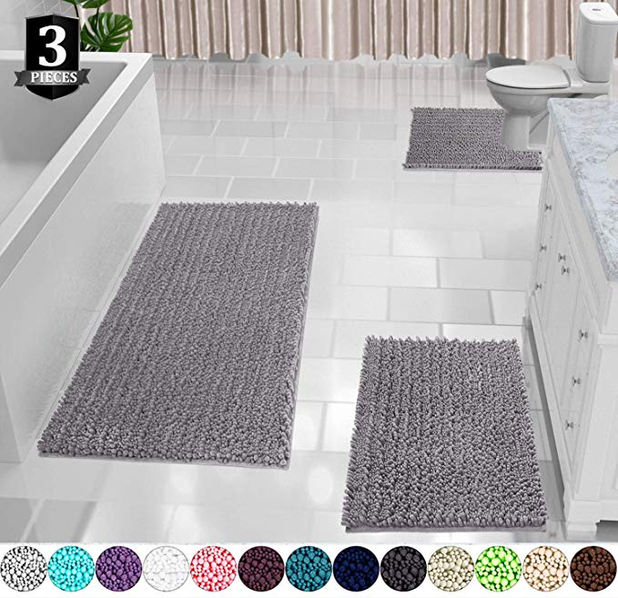 Amazon Com Yimobra 3 Piece Bath Mat Set Extra Large Shaggy Chenille Bathroom Mats Bathroom Rugs Conto In 2020 With Images Bath Mat Sets Adjustable Bar Stools Small Desk Lamp