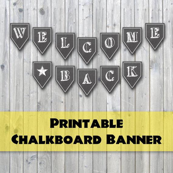welcome back chalkboard design printable banner back to school