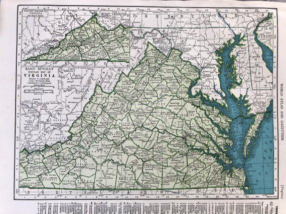 1940 Virginia Map Old Map Of Virginia Washington Antique