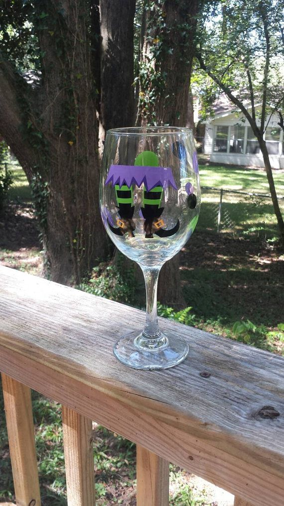 Drink up Witches! Enjoy a glass of your favorite potion in this cute wine glass.