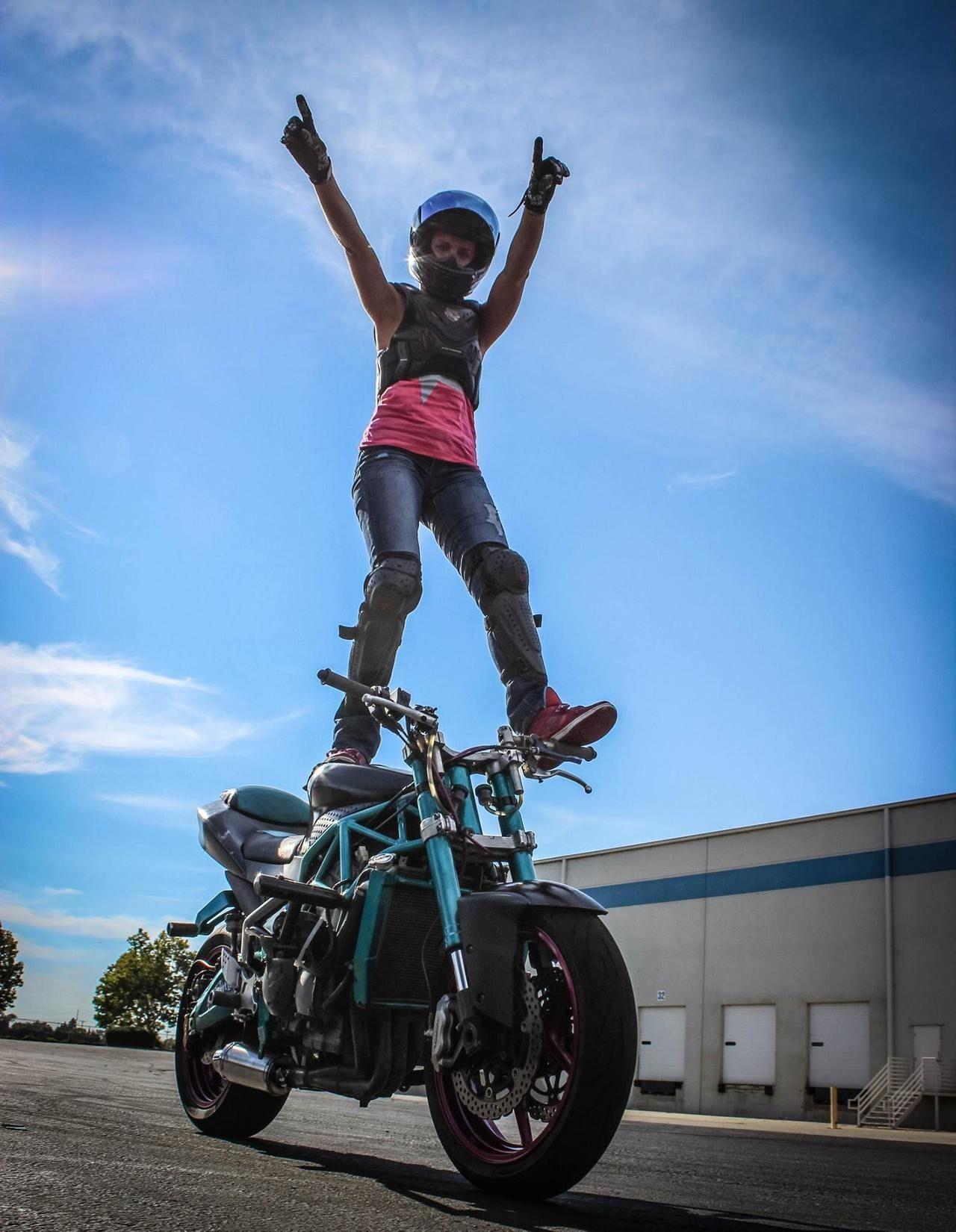 Robyn Diamond Happy New Year Stunt Bike Cafe Racer Girl
