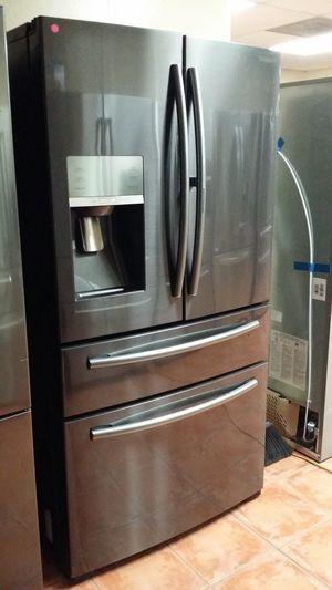Counter Depth Black Stainless Steel Showcase Refrigerator