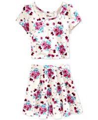 Epic Threads Girls' 2-Piece Floral Top & Skater Skirt Set