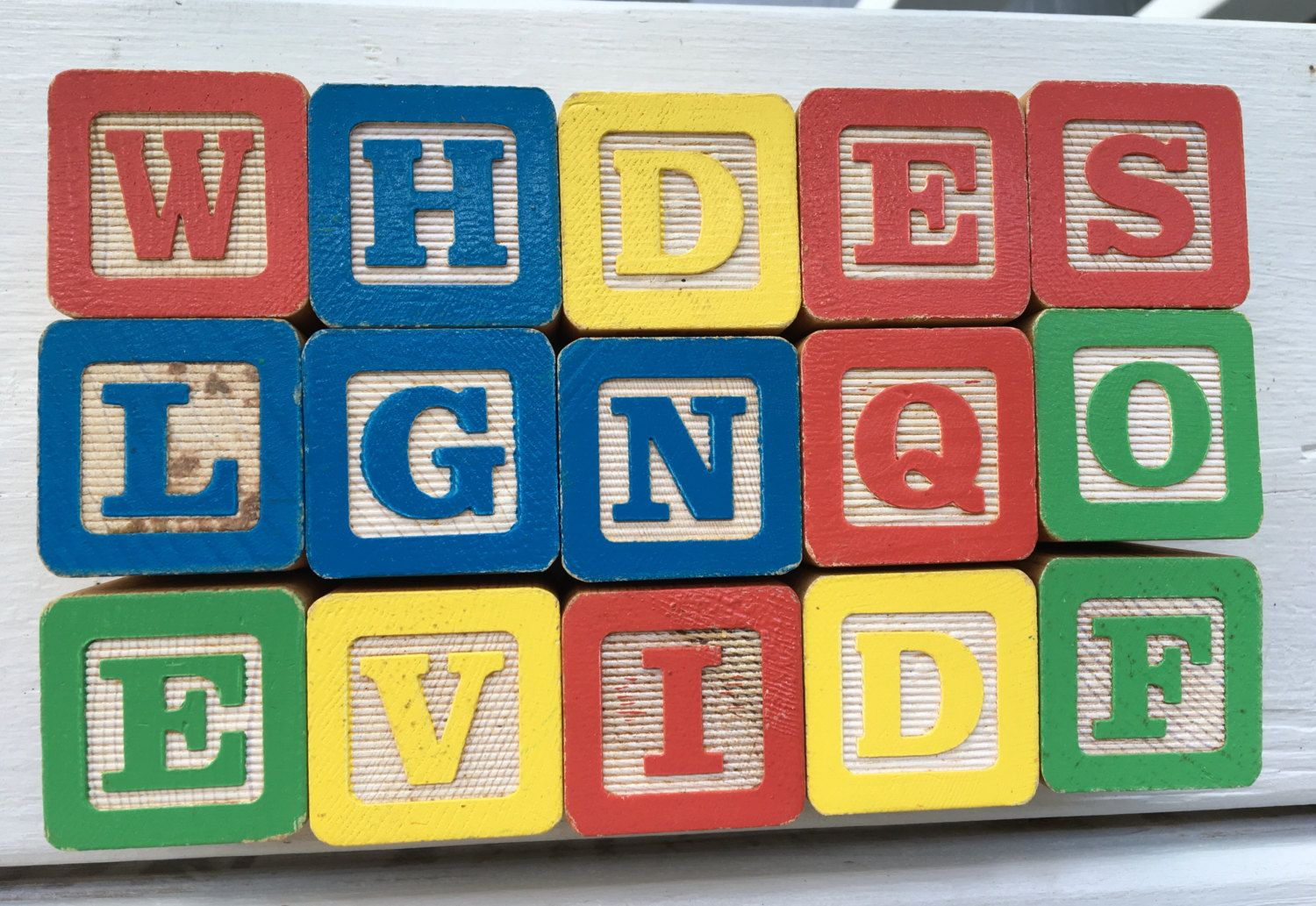 vintage wooden alphabet building blocks, rounded edges, set of 15 by MotherMuse on Etsy