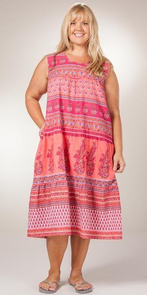 Plus Cotton Dresses - La Cera Cotton Sleeveless Dress in Floral Coral a977fb46c