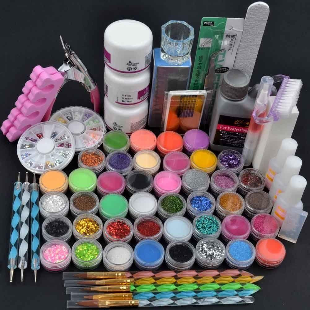 Generic 42Acrylic Brush Powder Liquid Glitter Clipper Primer File ...