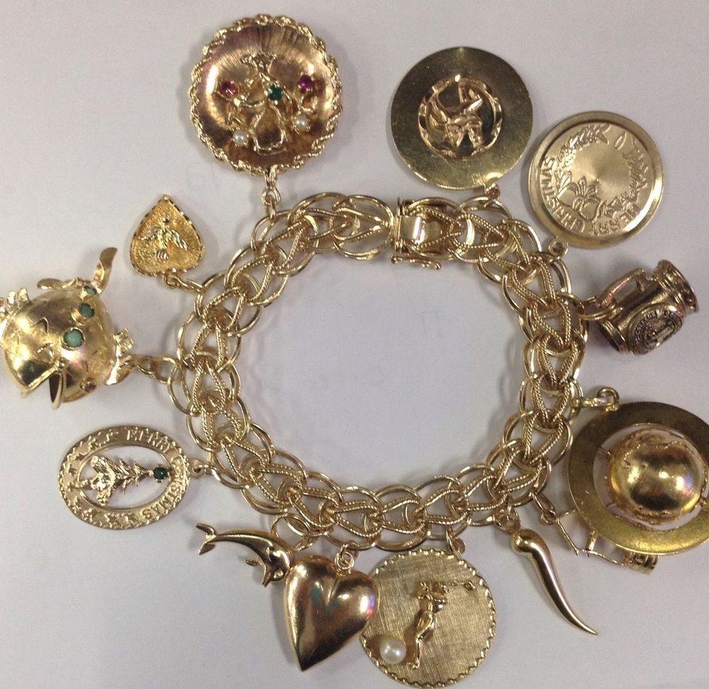 Map of Italy 14K Gold Vintage Charm For Bracelet