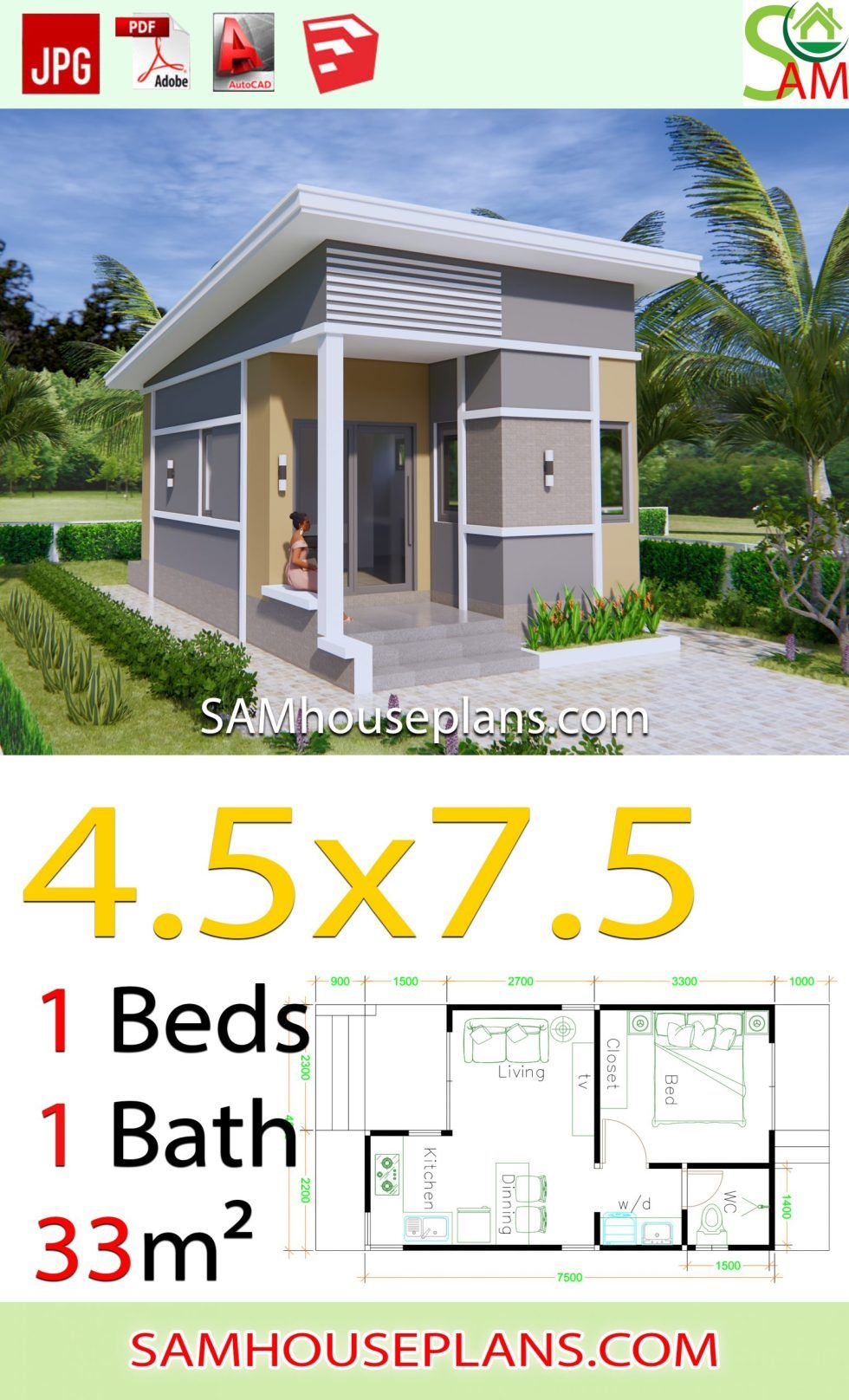 small house plans 45x75 with one bedroom shed roof in