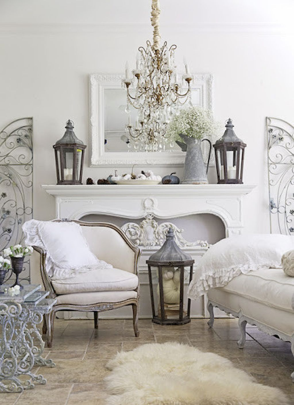 French country living room design ideas (19)  Déco shabby chic