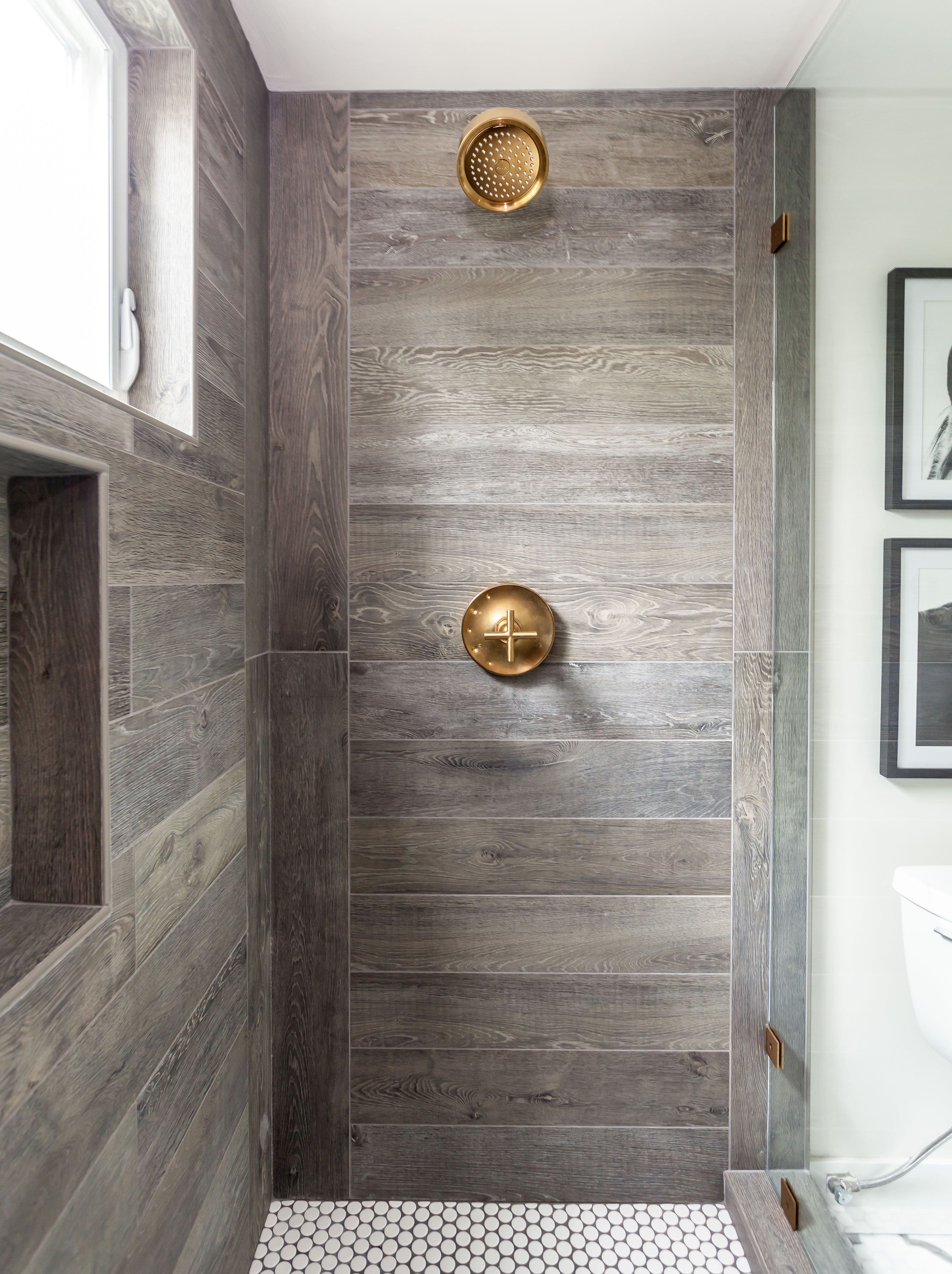 Designer: Juxtaposed Interiors  Luxury Farmhouse Bathroom ... on Rustic Farmhouse Bathroom Tile  id=14122