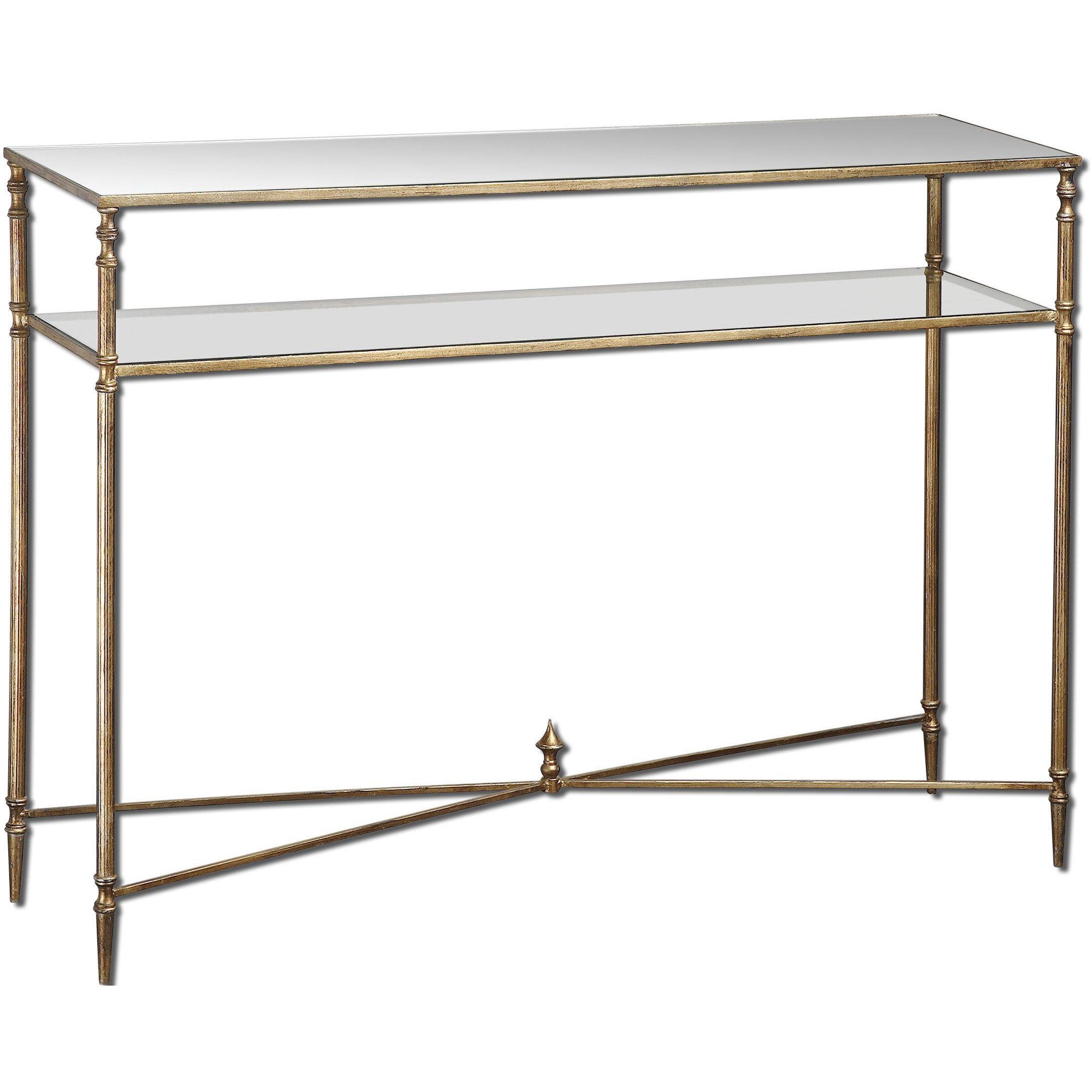 Glass console table with shelf uttermost henzler mirrored glass console table by uttermost