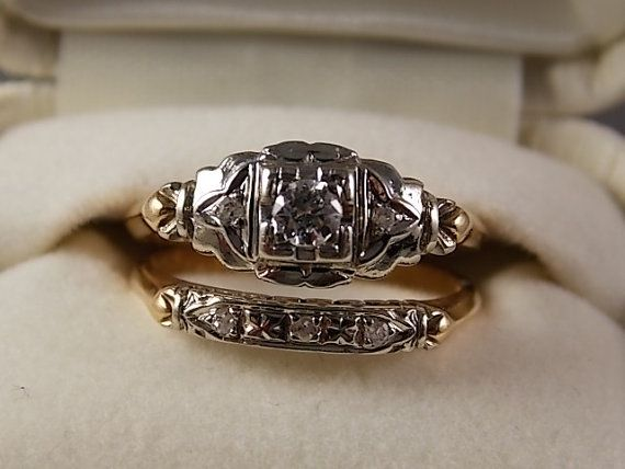 1930s Diamond Wedding Ring Set 23 Ctw Wg Yg 14k 5 Gm Size 7 5 Lovely Design Wedding Ring Sets Diamond Wedding Rings Sets Wedding Rings Vintage