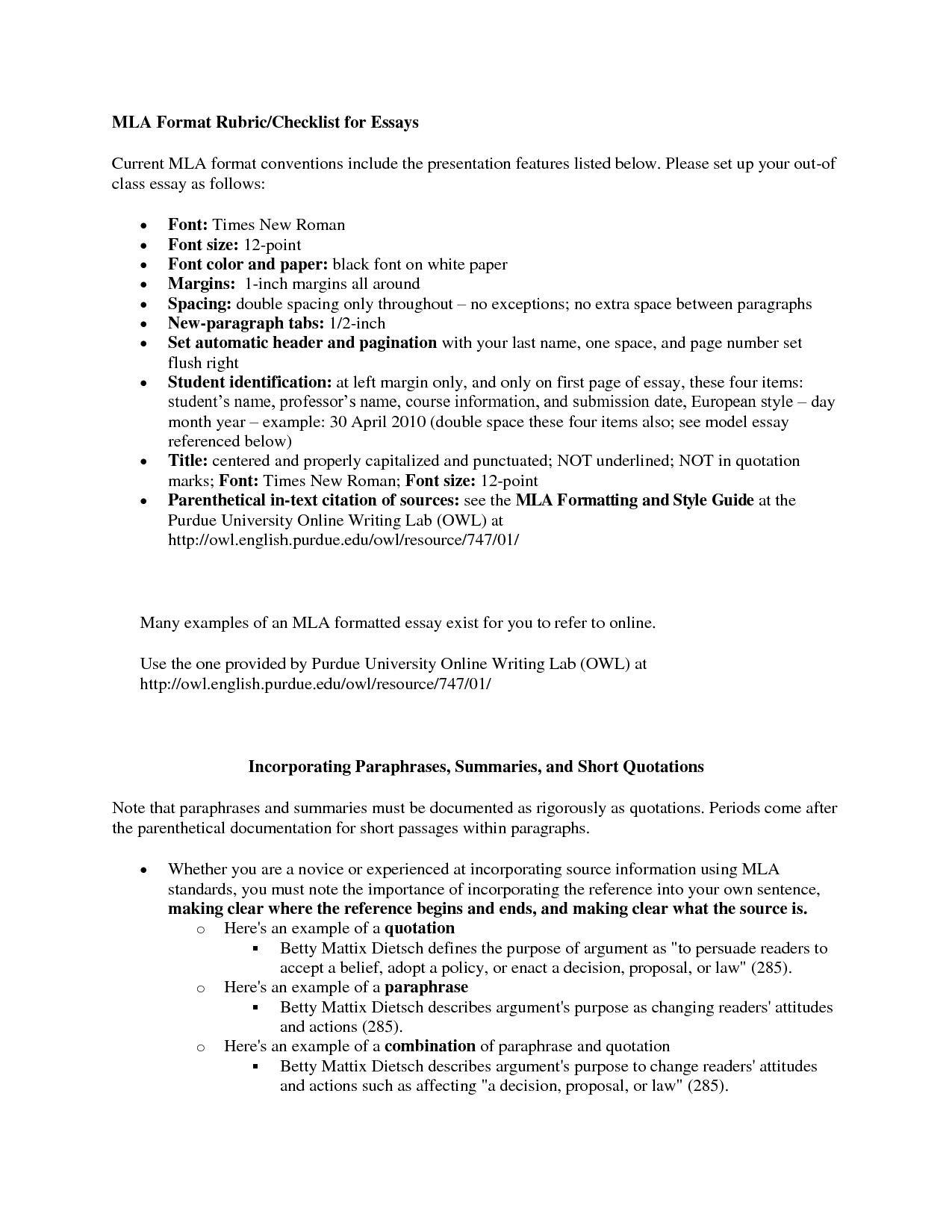 Mla Format Essay Template Excellent 13 Best Of Mla Works