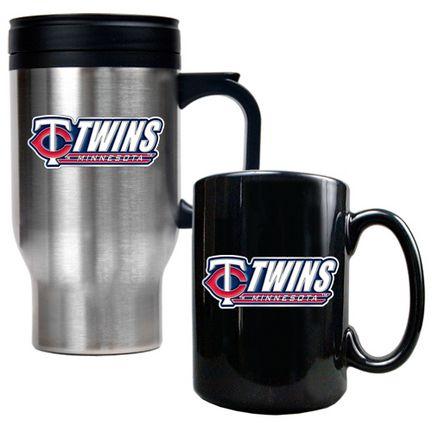 22a6621345 Minnesota Twins Stainless Steel Travel Mug and Black Ceramic Mug Set ...