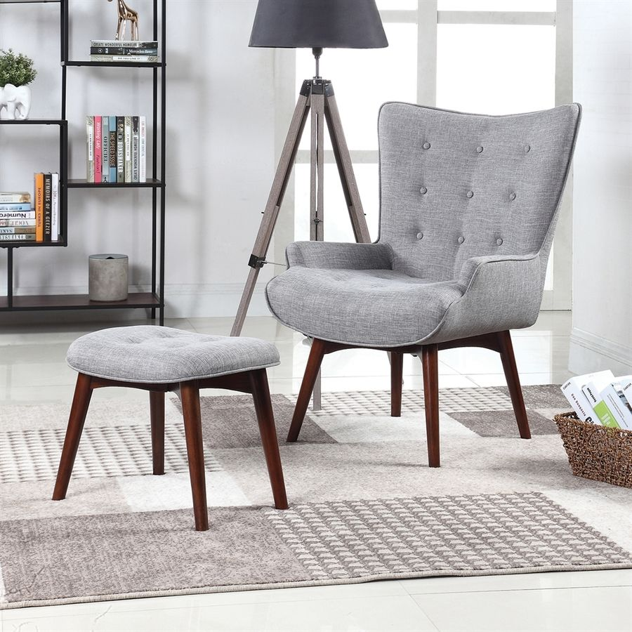 Elegant Scott Living Midcentury Light Grey Wingback Chair With Ottoman 903820