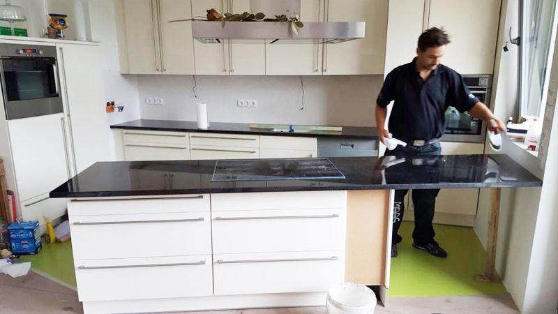 Küchenarbeitsplatte material  Neue #Granit #Küchenarbeitsplatte, Material Nero Devil Black. http ...
