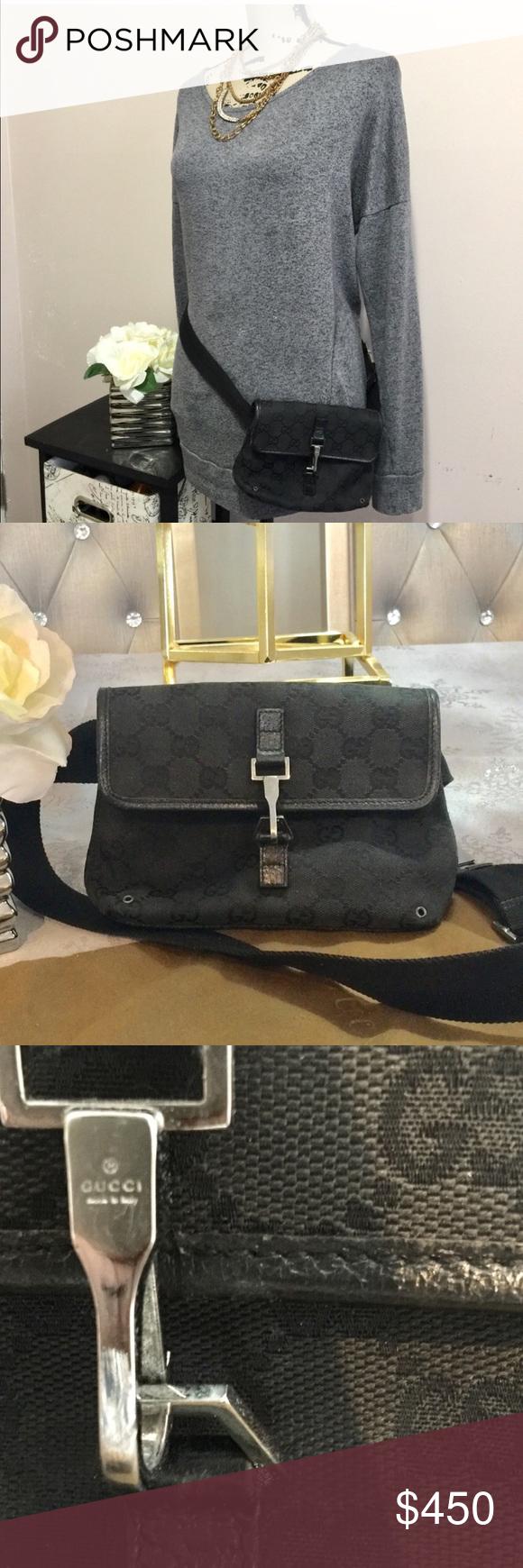 4e7fde89a19 Authentic Gucci fanny pack waist bag Authentic Gucci black canvas monogram  GG fanny pack belt bag