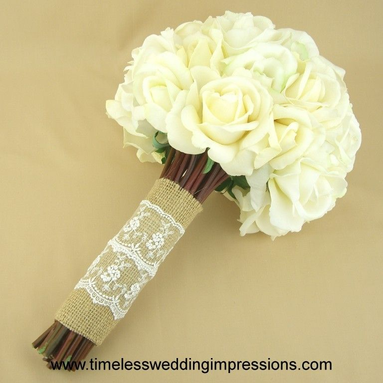Real Roses and burlap bouquet   ... Bridal Bouquet Burlap Lace Roses Real Touch Silk Wedding Flowers
