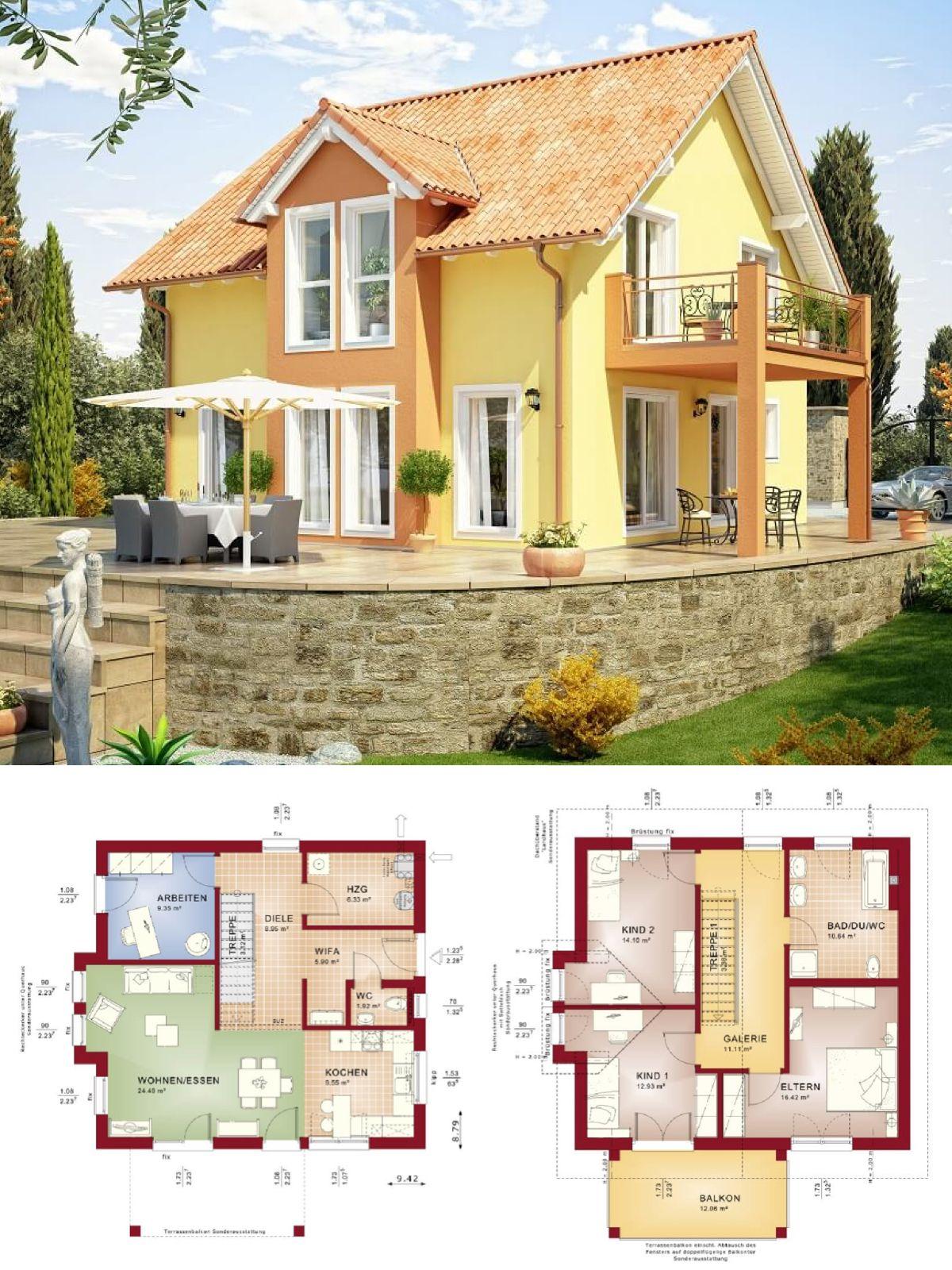 Modernes einfamilienhaus im landhausstil mit galerie for Haus bauen plan