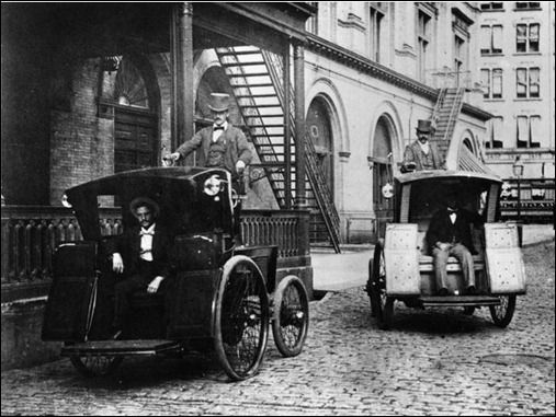 The Electric Vehicle Co. introduced electric cabs to New York City in 1896, and by 1899 the city had more than 60 of them. The cars were intended to fix the significant waste problem from horse-drawn carriages. Cab companies didn't believe there was a market for personal cars because it would require knowledge of electricity, but consumers did end up purchasing their own because of how easy they were to use.